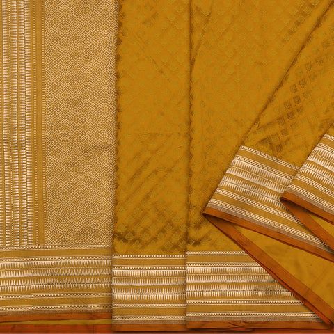Handwoven Banarasi Tanchoi Mustard Yellow Silk Sari - WIIBT0097 - Cover View