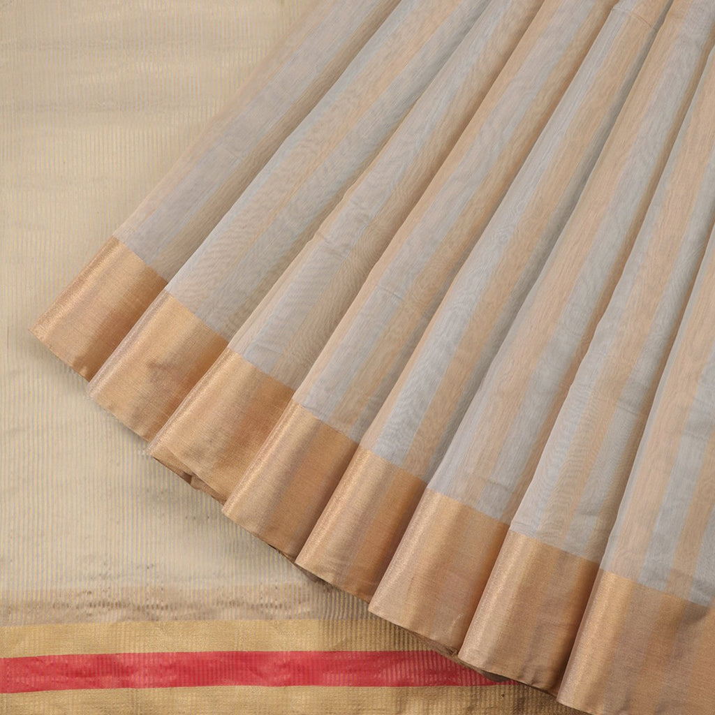 Handwoven Light Grey Silk Cotton Chanderi Sari - WIIAPRI CCSR0002 - Cover View