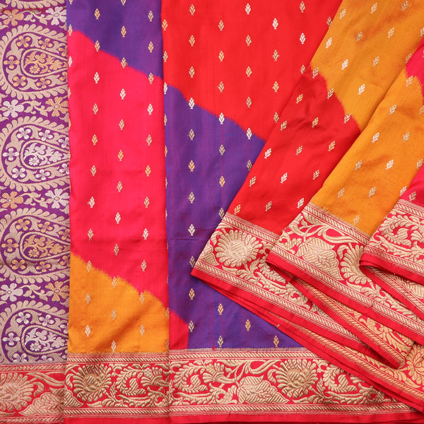 Handwoven Multicolour Banarasi Silk Sari - WIIBT0038 - Cover View