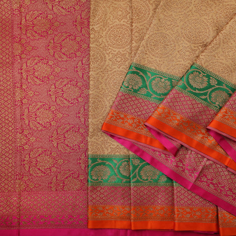 Handwoven Ecru and Pink Banarasi Silk Sari - WIISHNIKARIDNAM030 - Cover View