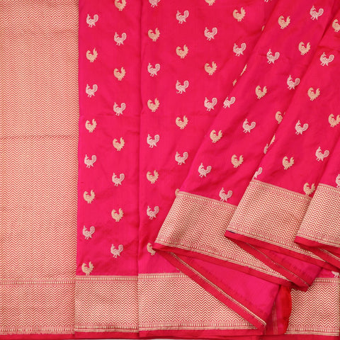Handwoven Crimson Red Banarasi Silk Sari - WIIBT0087 - Cover View