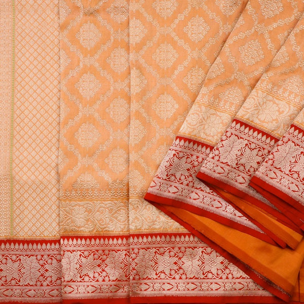 Handwoven Muskmelon Orange Banarasi Silk Sari - WIISDT0186(A) - Cover View