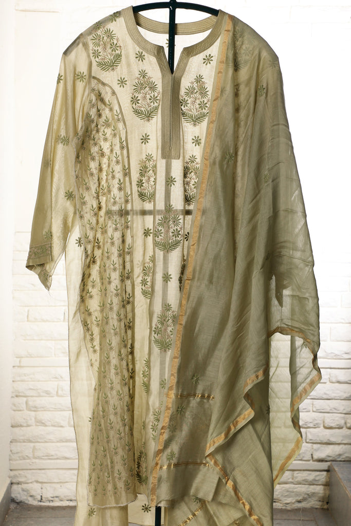 Green Semi Stitched Chanderi Suit