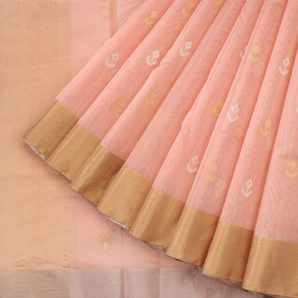 Handwoven Peach Silk Cotton Chanderi Sari - WIIAPRI CWMS 5 - Cover View