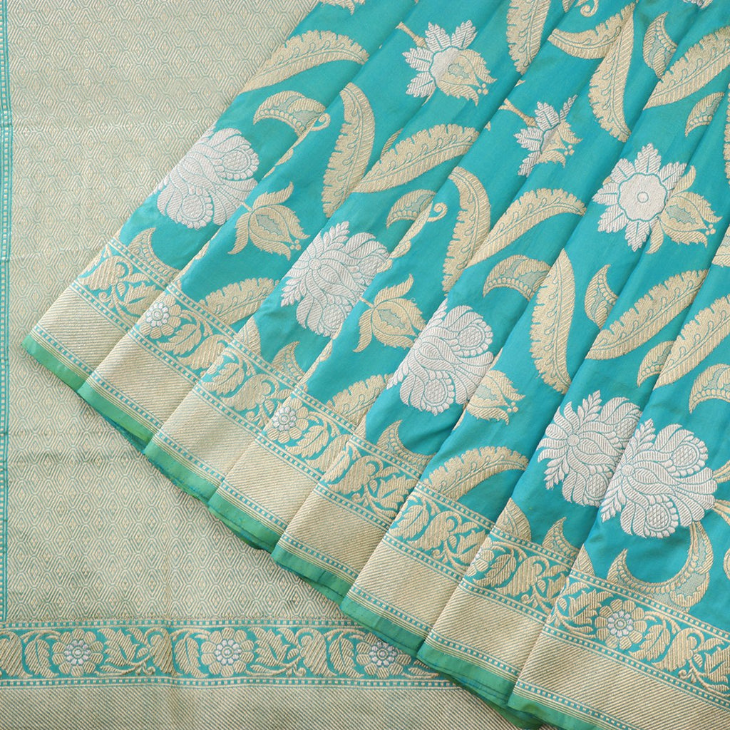 Handwoven Blue-Green Shaded Banarasi Sari - WIIBT0086 - Cover View