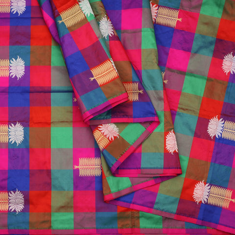 Handwoven Multicolour Checks And Butta Work Banarasi Unstitched Silk Fabric - WIIAM596 002E - Cover View