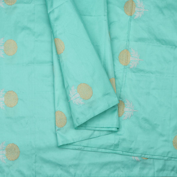 Handwoven Cyan Banarasi Silk Unstitched Fabric - WIIAM596 002B - Cover View
