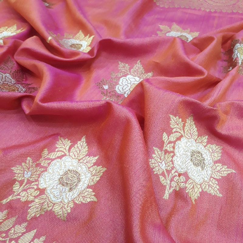 Rose Pink Banarasi Silk Saree