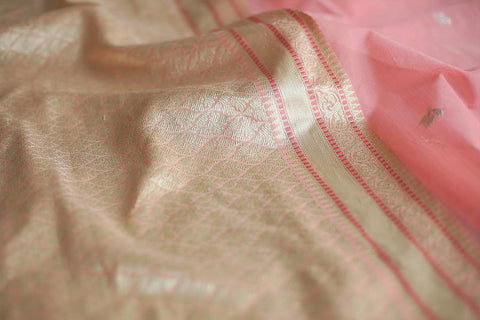 Handwoven Silk Cotton Jamdani Salmon Pink Sari