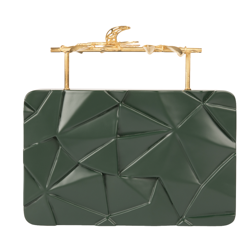 Duet Luxury Dragonfly Assymetrical Olive Green Firefly Clutch