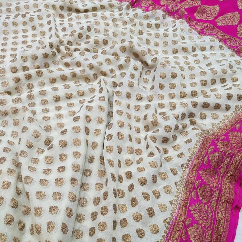Ecru Khaddi Georgette Silk Saree