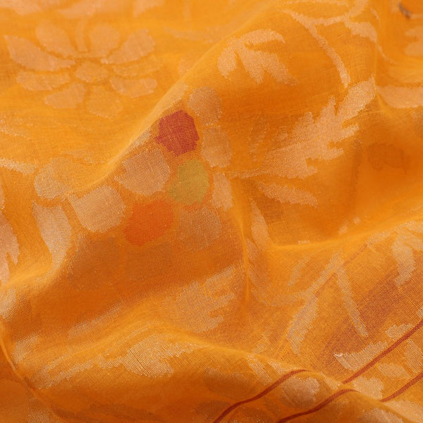 Handwoven Sunset Orange Silk Cotton Jamdani Sari - WIIRJ0147 - Fabric View