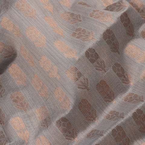HANDWOVEN ASH GREY CHANDERI SILK EK NALIYA BUTTI SARI-WIIAPRICFJS 01-FABRIC VIEW