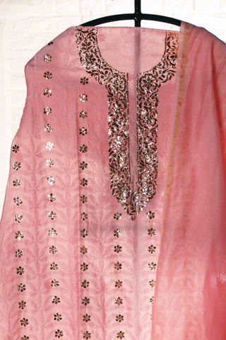 Pink Semi Stitched Chanderi Suit - WIINCK023