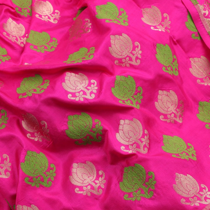 Handwoven Rani Pink Banarasi Silk Unstitched Fabric - WIIRJ0091 _ Fabric View