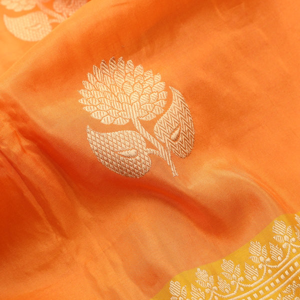 Handwoven Carrot Orange Banarasi  Katan Tissue Silk Sari - WIIBT0083 - Fabric View