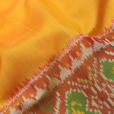 Handwoven Yellow and Red Single Ikat Patola Sari-WIIPATANARIDNAM1600419
