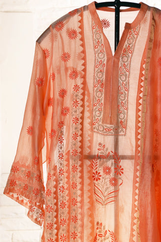 Peach Semi Stitched Chanderi Suit - WIINCK017-D