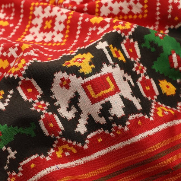 Handwoven Red Double Ikat Patan Patola Vohra Gaji Silk Sari - WIIPP040(4) - Fabric View