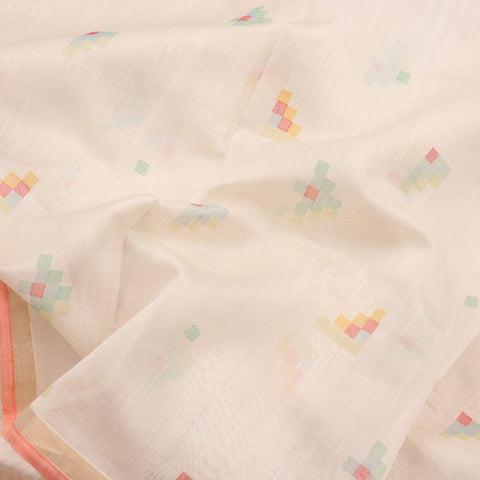 HANDWOVEN OFF WHITE CHANDERI COTTON SARI-WIIAPRICPSR02- Fabric View