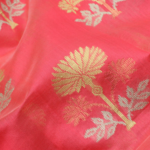 Handwoven Coral Royal Chanderi Silk Saree- WIIHSBHARIDNAM009