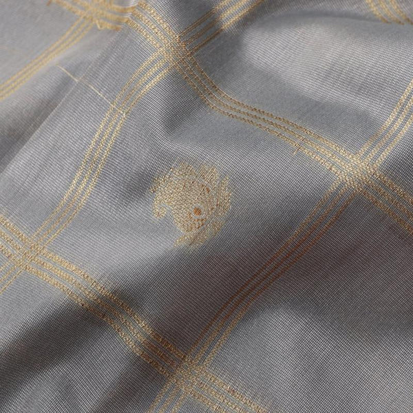 Handwoven Graphite Grey Silk Cotton Chanderi Sari - WIISHNIKARIDNAM0100-2 - Fabric View