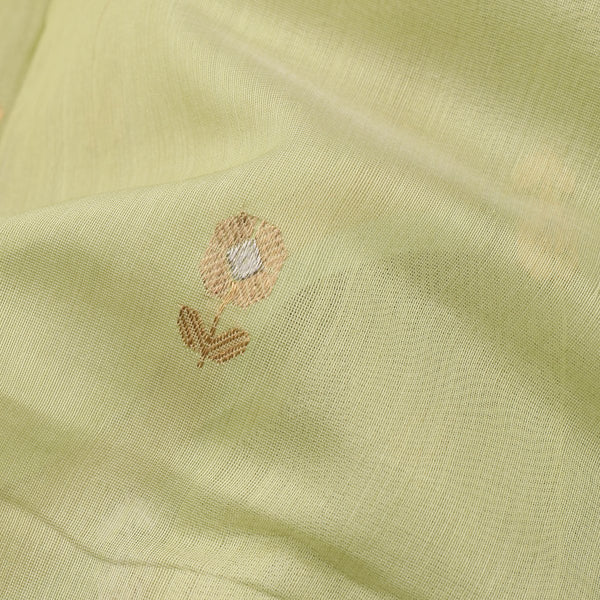 HANDWOVEN PISTA GREEN CHANDERI SILK EK NALIYA BUTTI SARI-WIIAPRICEBS 01- Fabric View