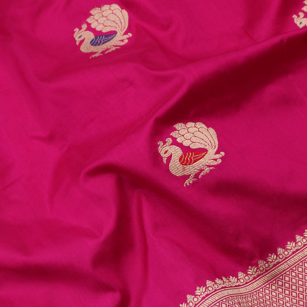 Handwoven Rani Pink  Banarsai Silk Sari - WIIBT0062 - Fabric View