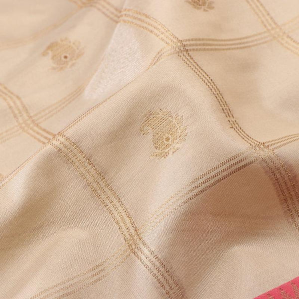 Handwoven Ecru Silk Cotton Chanderi Sari - WIISHNIKARIDNAM0100-4 - Fabric View