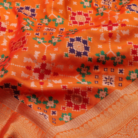 Handwoven Sunset Orange Banarasi Patola Silk Sari - WIISHINKARIDNAM0068 - Fabric View