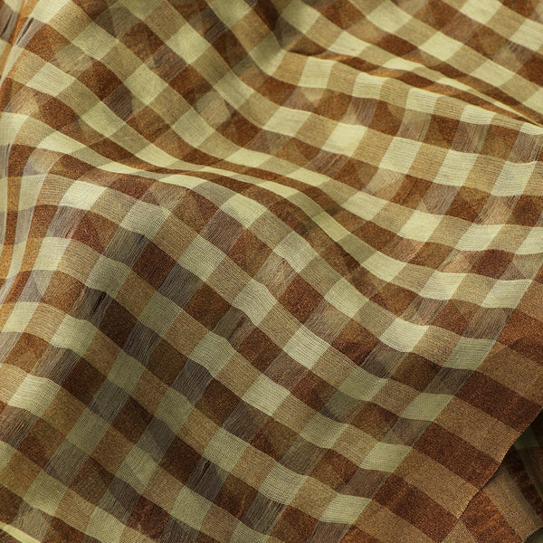 Handwoven Pista Green And Brown Checks Silk Cotton Chanderi Sari - WIIAPRI CTSR0002 - Design View