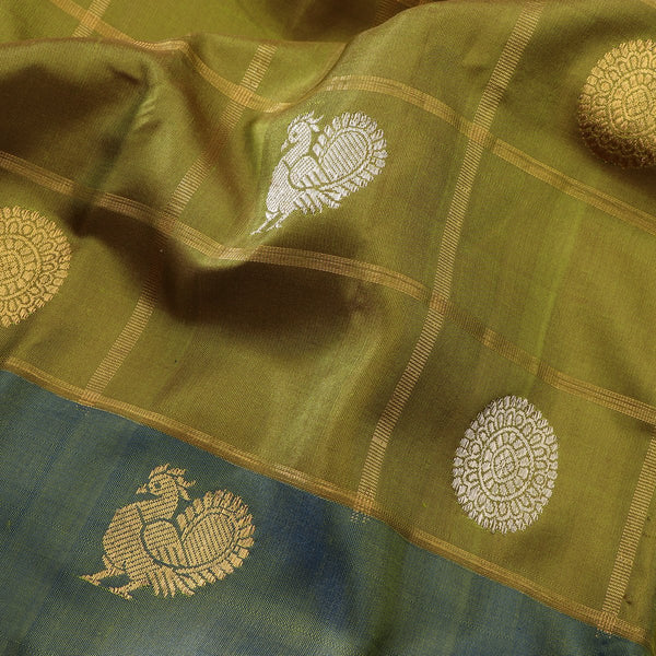 Handwoven Shades of Green Kanjivaram Silk Sari - WIIGS021 - Fabric View