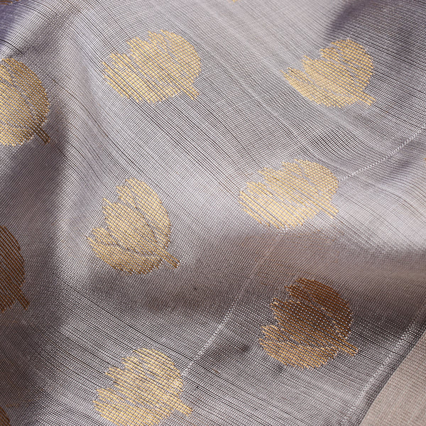 Handwoven Metallic Grey Mogra Motif Chanderi Silk Sari - WIIHSBH001A - Fabric view
