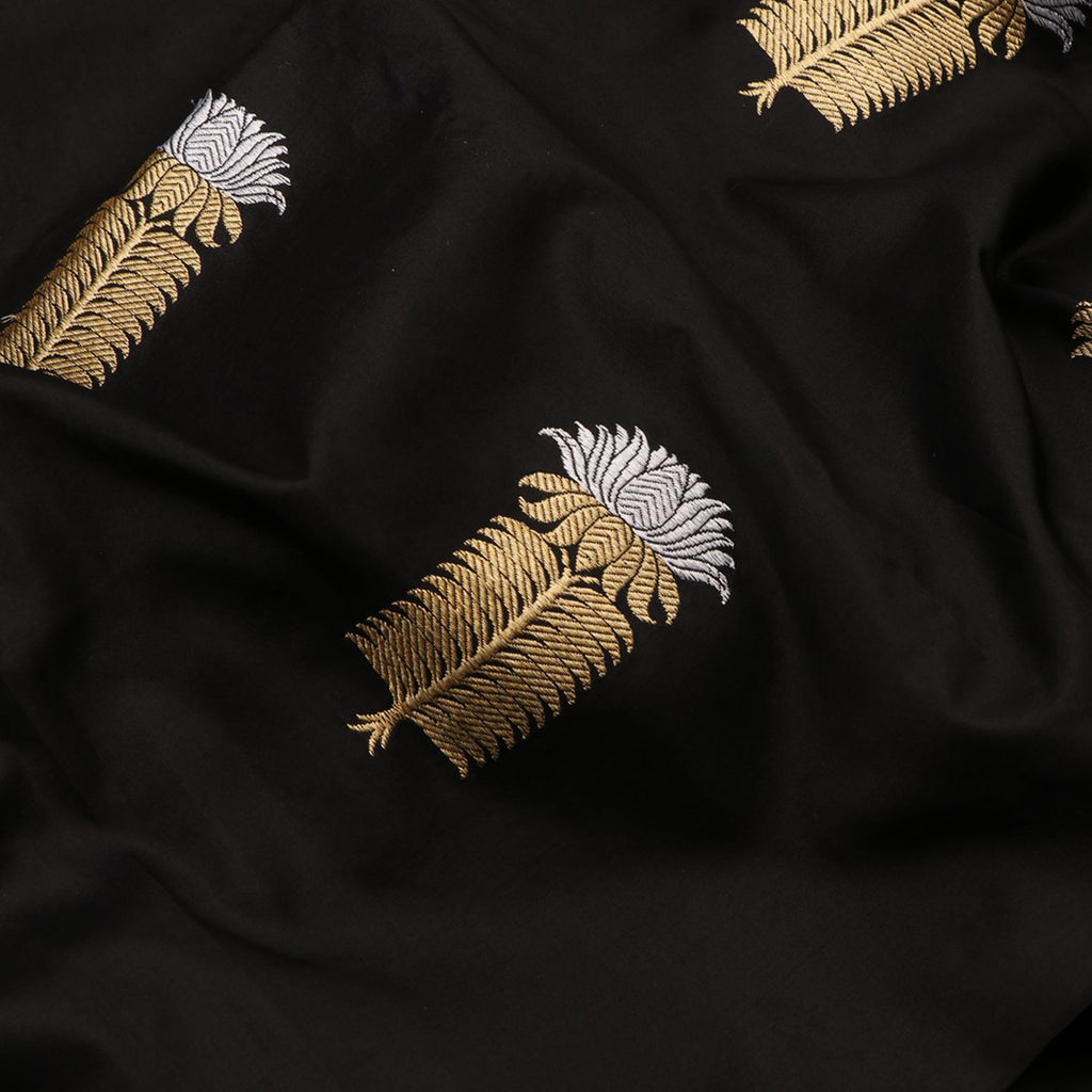 Handwoven Black Gold Silver Banarasi Silk Unstitched Fabric - WIIAM596 002G - Fabric View