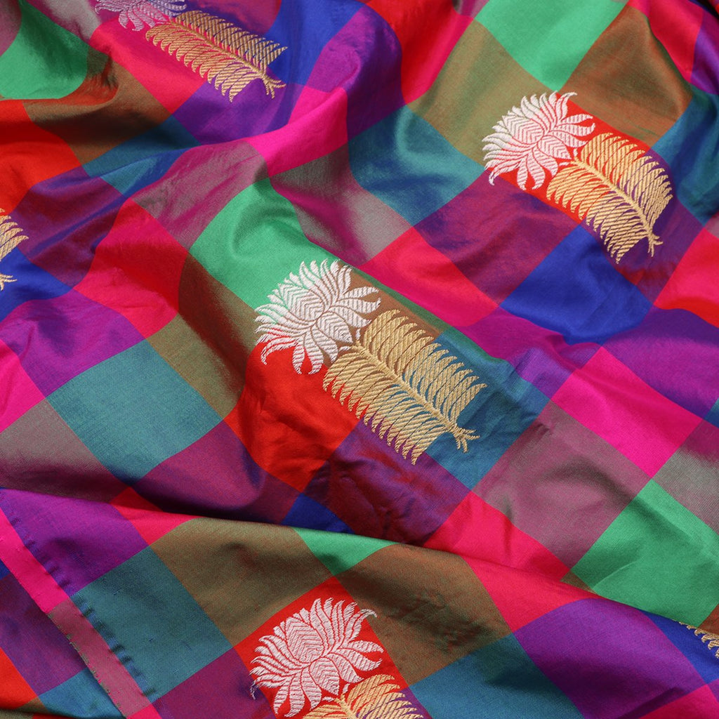 Handwoven Multicolour Checks And Butta Work Banarasi Unstitched Silk Fabric - WIIAM596 002E - Fabric View