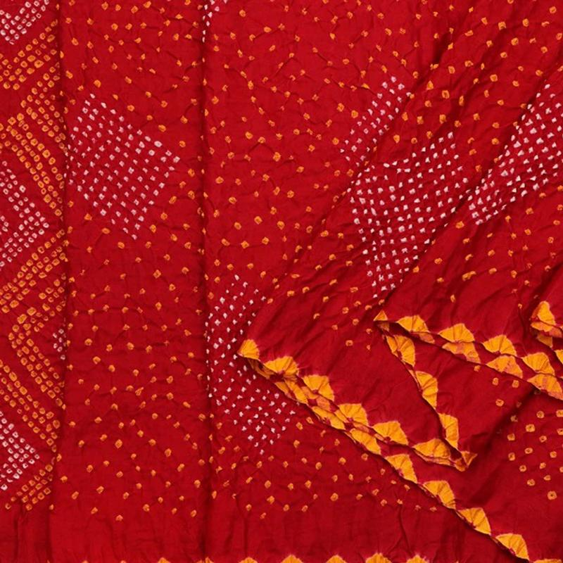 Crimson Red Bandhani Gajji Silk Sari