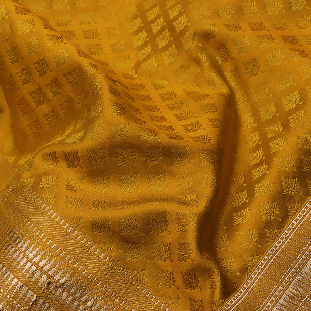 Handwoven Banarasi Tanchoi Mustard Yellow Silk Sari - WIIBT0097 - Fabric View