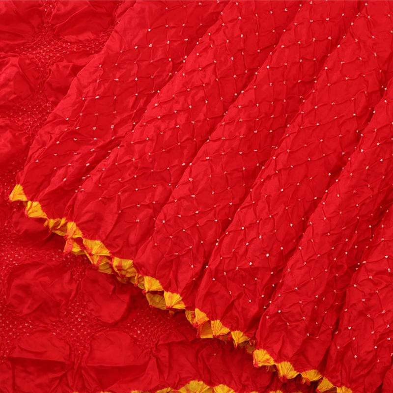 Chilli Red Bandhani  Habutai Silk Saree - WeaveinIndia
