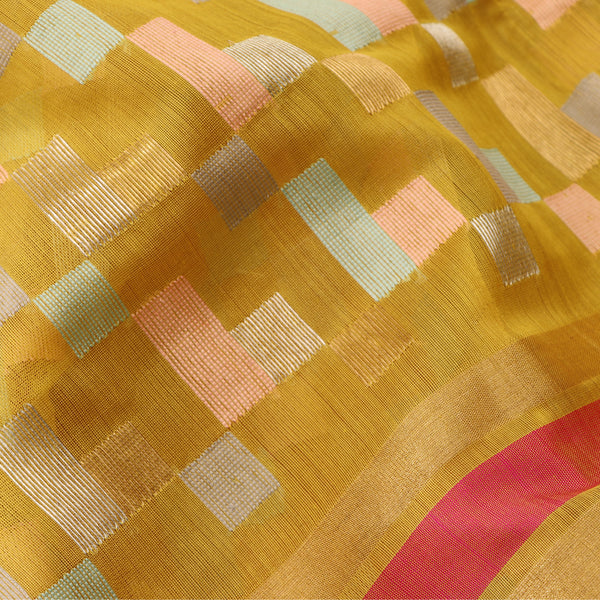 Handwoven Mustard Silk Cotton Chanderi Sari - WIIAPRI CFJS(3) - Design View
