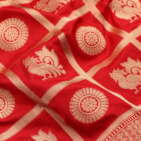Handwoven Cherry Red Banarasi Katan Silk Sari - WIIKBDA0014 - Fabric View