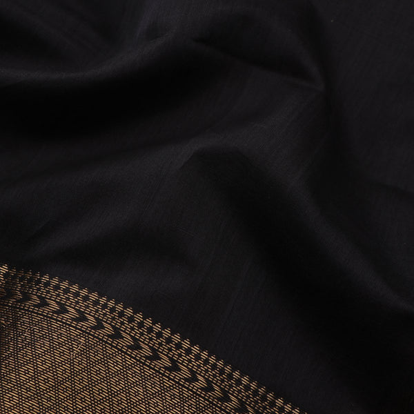 Handwoven Black Maheshwari Silk Cotton Sari-WIIGS034- Fabric View