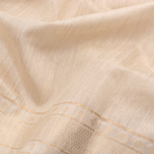 Handwoven Off-White Muga Tussar Silk Sari-WIIGS039 - Fabric VIew