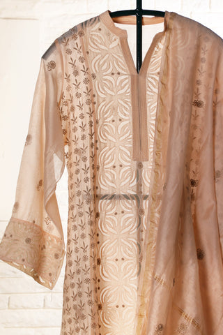 Pastel peach Semi Stitched Chanderi Suit - WIINCK017-7