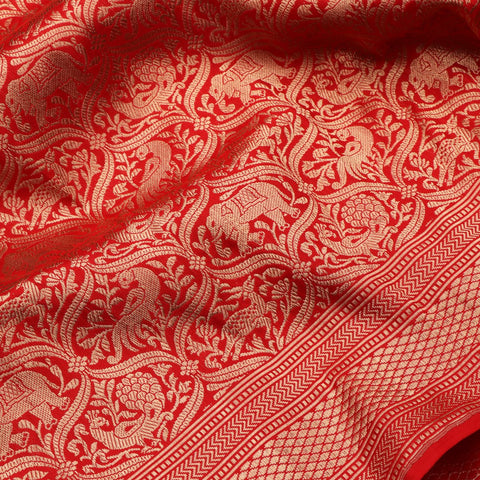 Handwoven Chilli Red Banarasi Katan Silk Sari - WIIKBDA0010 - Fabric View