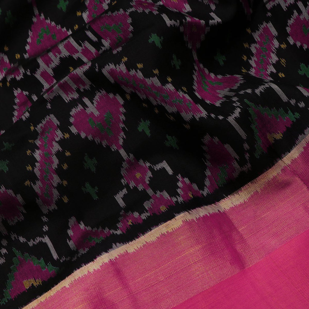 Handwoven Black Single Ikat Patola Silk Sari - WIIPATANARIDNAM0111118 - Fabric View