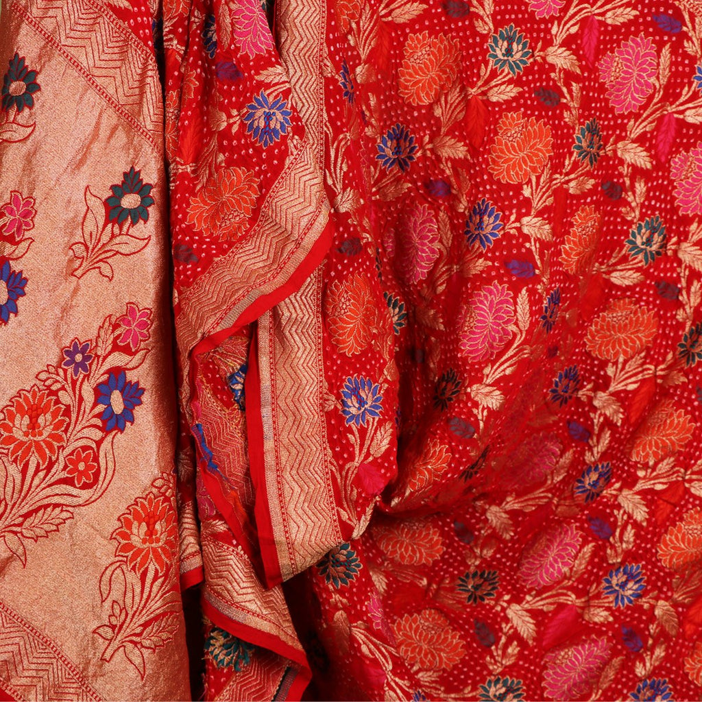 Handwoven Chilli Red Bandhini Silk Georgette Dupatta - WIIAJB100-A - Design View
