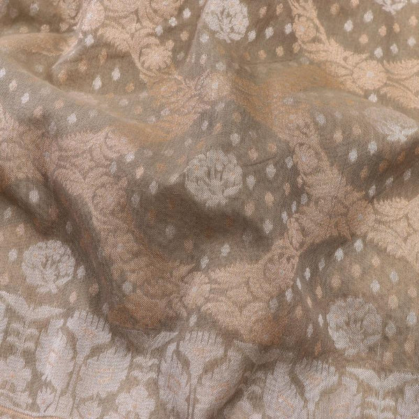 Handwoven Sand Banaras Muslin Cotton Sari-WIIGS046 - Fabric View