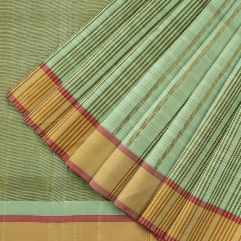 Pista Green Checkered Kanjivaram Silk Saree - WeaveinIndia