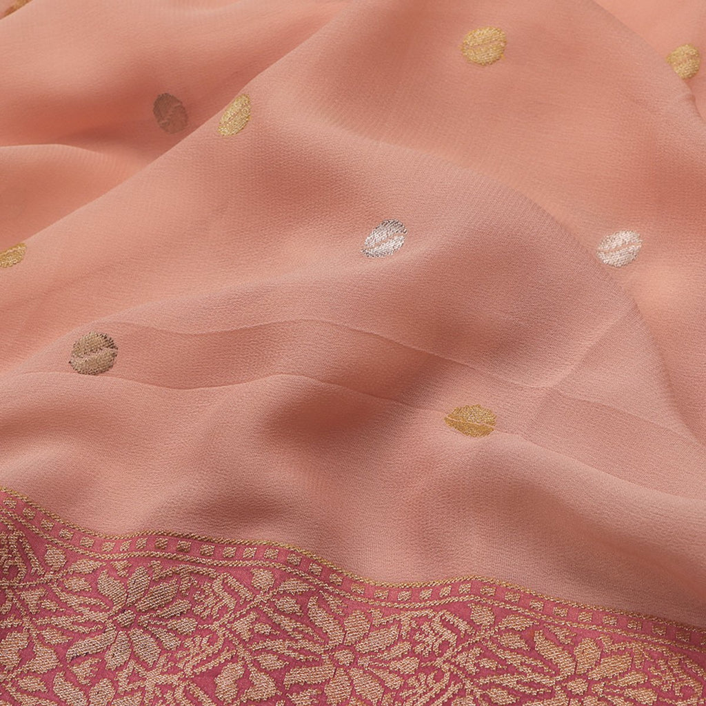 Handwoven Banarasi Blush Pink Pure Silk Georgette Sari - WIISDT1938 04 - Fabric View