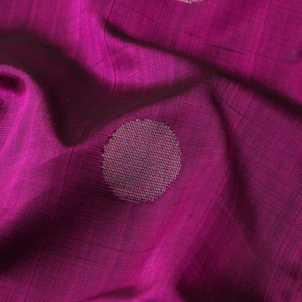 Handwoven Magenta Polka Dots Kanjivaram Silk Sari - WIIGS043 - Fabric View